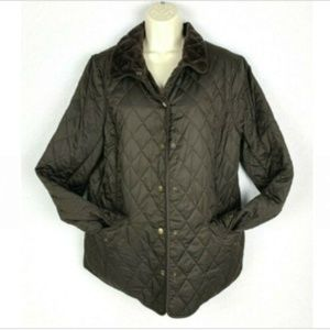Jones New York Chocolate Quilted Snap Up Jacket